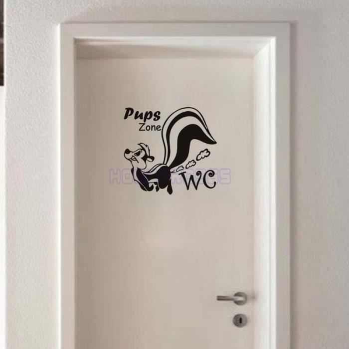 Noir chiots stickers muraux pour toilettes cr atifs for Decoration murale wc