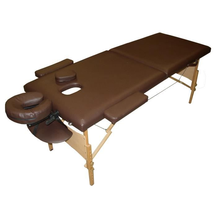 W4h table de massage marron pliante portable bois achat vente table de massage w4h table de - Table de massage pliante bois ...