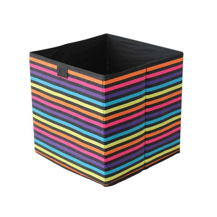 boite de rangement en tissu 31 x 31 x 31 cm multi couleur noir box and beyond achat. Black Bedroom Furniture Sets. Home Design Ideas