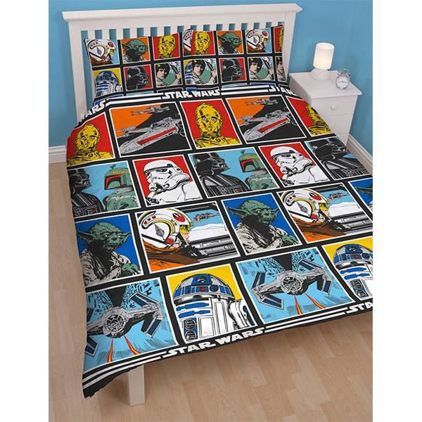 parure de lit double star wars force achat vente. Black Bedroom Furniture Sets. Home Design Ideas