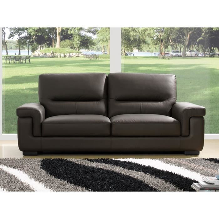 canap cuir luxe 3 places sandy chocolat achat vente canap sofa divan cdiscount. Black Bedroom Furniture Sets. Home Design Ideas