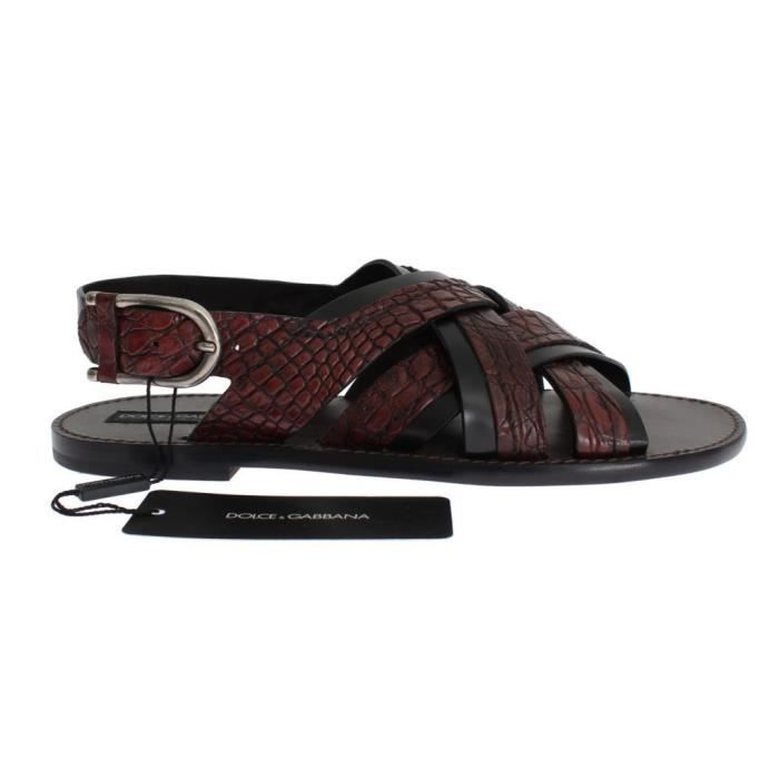 Black Leather Dolceamp; Sandal Shoes Red Crocodile Rouge Gabbana CrhdxtsQ