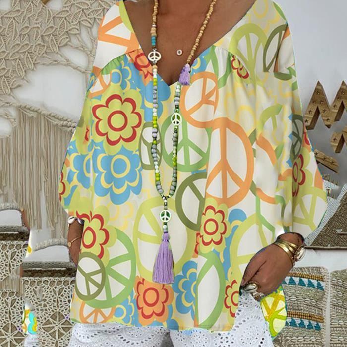 CHEMISIER - BLOUSE Femmes Mode manches longues imprimé floral col V C