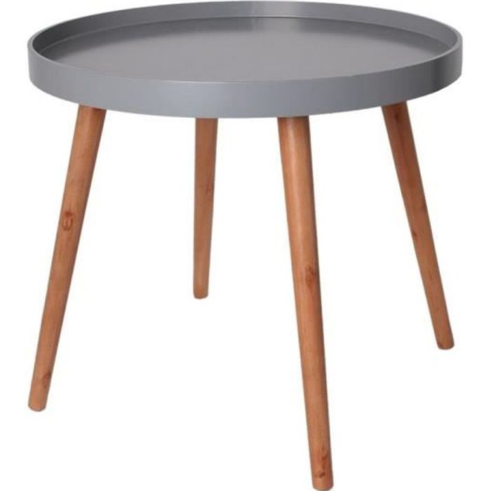 table d 39 appoint ronde avec plateau gris achat vente. Black Bedroom Furniture Sets. Home Design Ideas