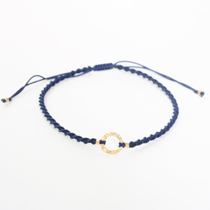 Womens Adjustable Friendship Bracelet Cotton String In Twist Design And Gold Plated On Brass RingQPM4Q