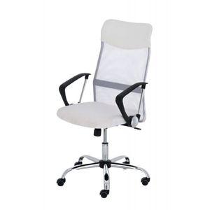 CHAISE DE BUREAU Fauteuil chaise de bureau en maille blanc avec 5 r