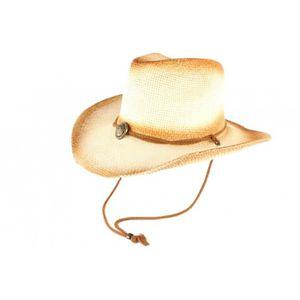 CHAPEAU - BOB Chapeau Cowboy Country Paille Beige et Marron Khel