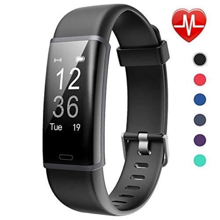Lintelek Tracker d'Activité Cardiofréquencemètre, Montre Connectée IP67 Etanche Bracelet Sport Podomètre Calorie Smartwatch pour Enf