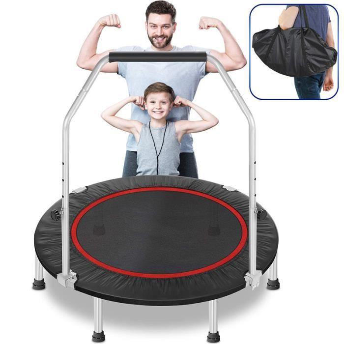MIXMEST@ Trampoline PP Portable - Avec Double Accoudoirs - Jeux d'Extérieur Trampoline Fitness Gymnastique Coussinet (109.2x22.9