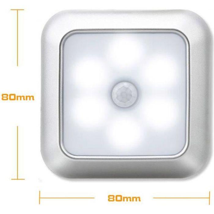 6 LED Lumière sans fil d'escalier d'armoire murale de capteur de mouvement de veilleuse, lumière blanche