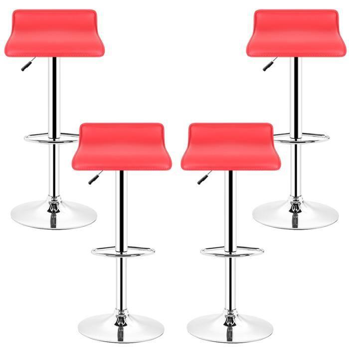 LOT DE 4!!! Tabourets de bar Fauteuil Bistrot 360° Réglable Pivotant Siège Design, Rouge!