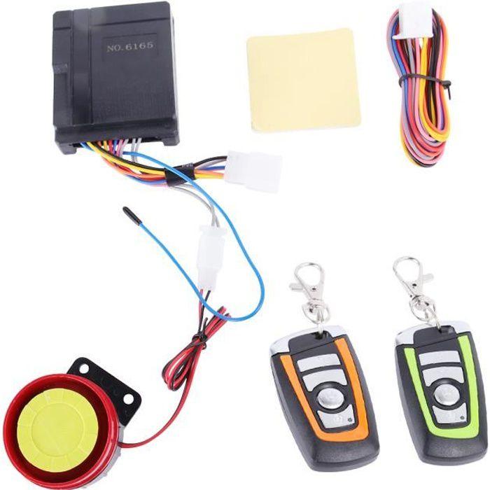 2pcs système d'alarme de sécurité de scooter de moto anti-vol bi-couleur moteur de contrôle à distance