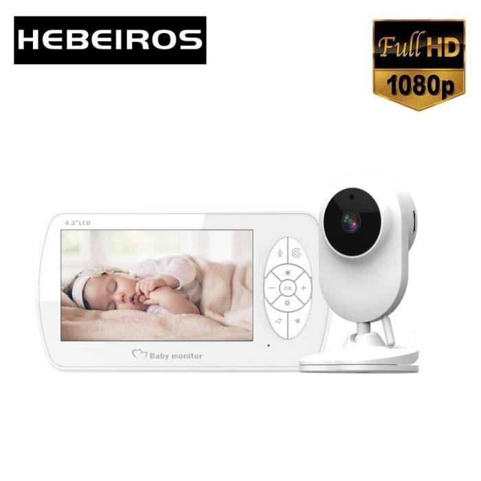 BABY PHONE - ECOUTE BEBE,Hebeiros moniteur vidéo couleur 1080P 4.3 pouces, sécurité de la batterie, caméra - Type With EU Plug