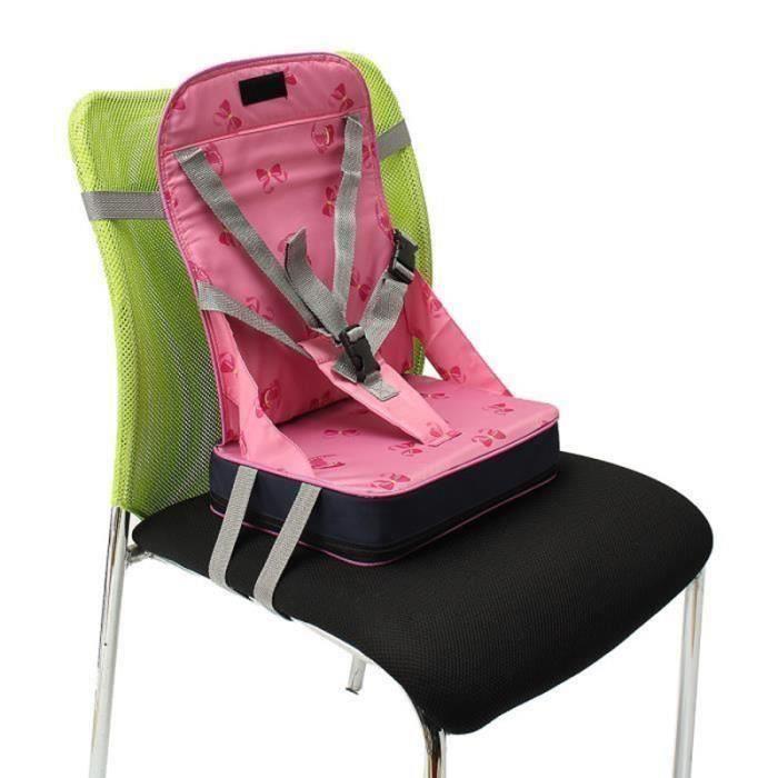 Portable Pliable Réhausseur Siège de Table Bébé Enfant Repas + 5-Point Harnais Sécurité Chaise Voyage (Rose) C030D