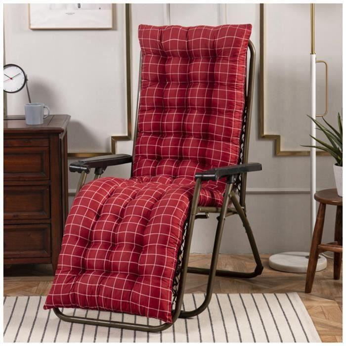 Coussin Bain de Soleil Jardin Pliable Anti-Dérapant Coussin Chaise Longue Epais Confort,48x120cm,Rouge 3