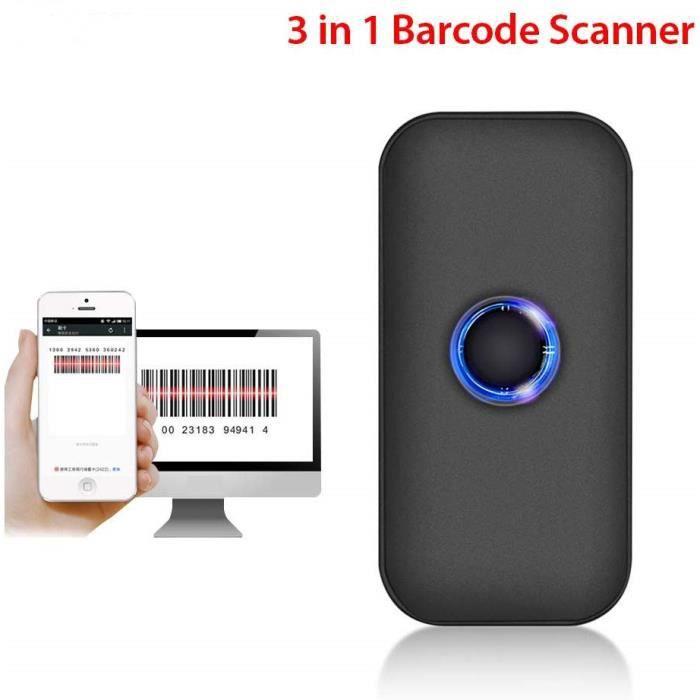 Mini Scanner Douchette 1D Lecteur de codes à barres CCD sans Fil Bluetooth et USB 3-en-1 Compatible avec iPad, iPhone, Téléphones An