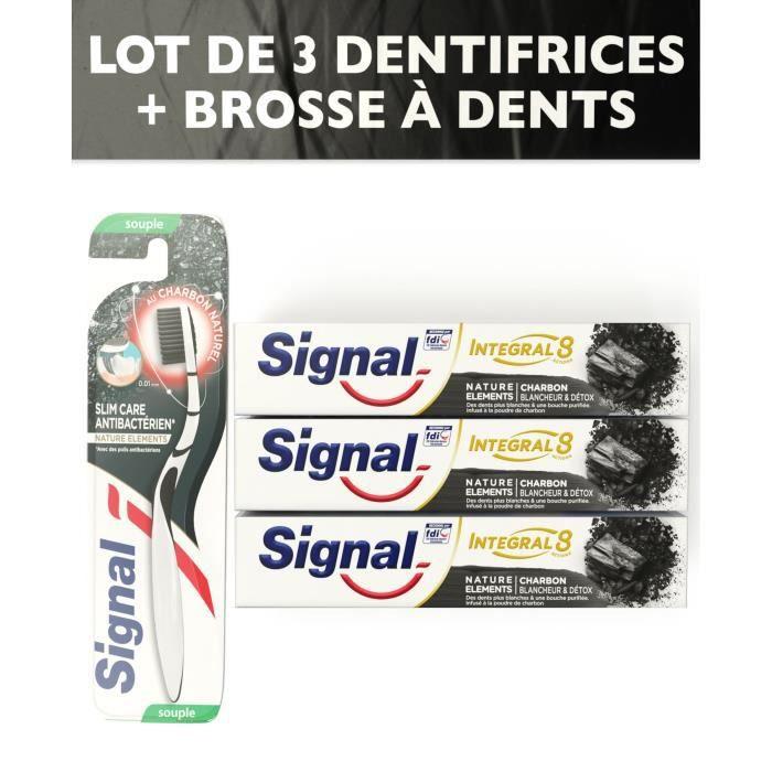 1 Brosse à dents Souple + 3 Dentifrices - SIGNAL Kit Charbon intégral 8 Blancheur Detox