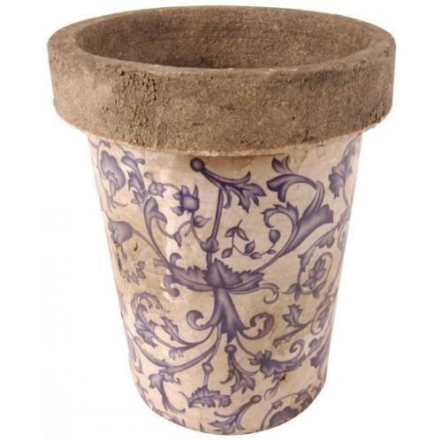 Pot de fleur en céramique bleu