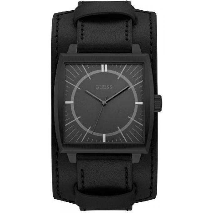 montre guess w1036g3 - montre bracelet cuir noir homme