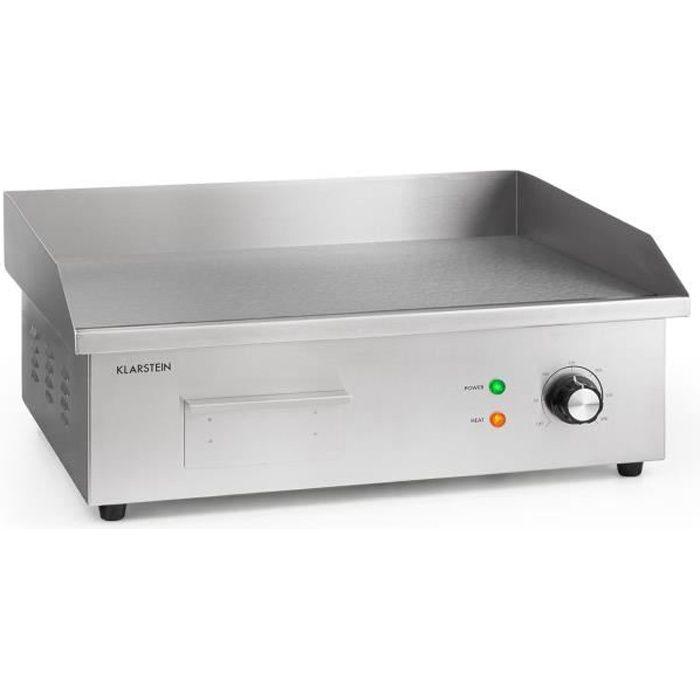 Klarstein Grillmeile 3000G Pro Barbecue électrique 3000W - Plaque de cuisson lisse 54,5 x 35cm - Inox & fonte