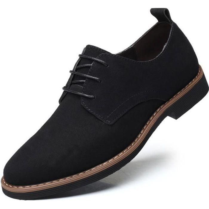 Chaussures Loisir Homme Nubuck Lacets Daim Richelieus Léger Casual Plat Grande Taille Petite Taille Classique 38-48 Noir