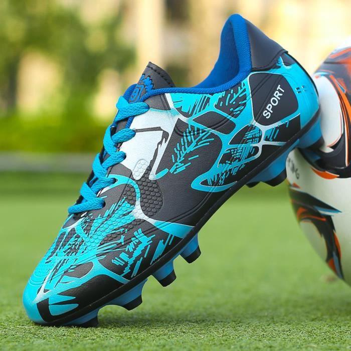 yangledu®Couple en plein air Chaussures de football non-Slip Les enfants à faible Top Chaussures d'entraînement de football Bleu