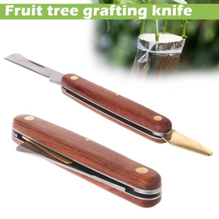 Couteau de Greffage Dague Pliable Serpette Tondeuse à Branche Bois Couteau de Pépinière Jardin à Greffer les Arbre des Fruits