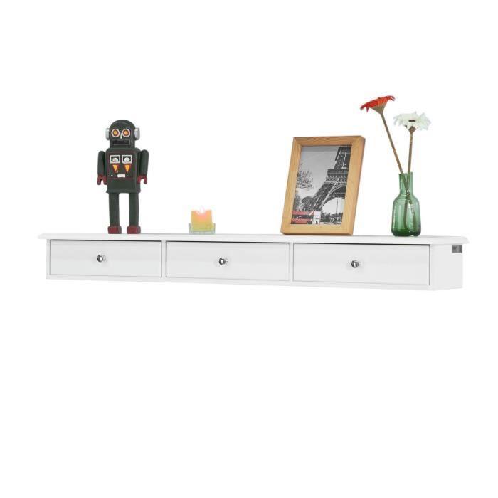 SoBuy® FRG43-L-W Étagère murale 3 tiroirs Armoire à clés Porte-clés Meuble d'entrée de rangement