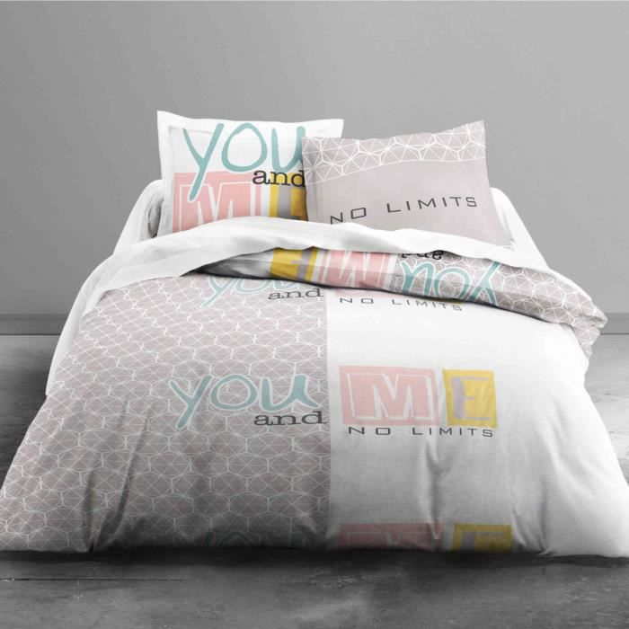 TODAY Parure de couette Enjoy YOU AND ME 100% coton - 1 housse de couette 220x240 cm + 2 taies 63x63 cm blanc et beige