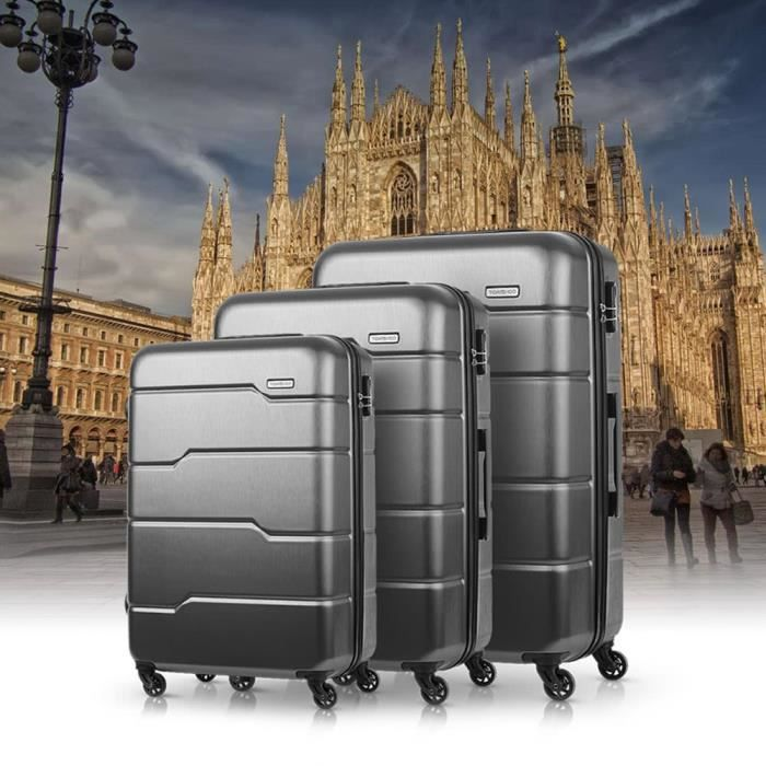 TOMSHOO 3PCS Bagages 20 -- 24- - 28 - Gris foncé Spinner Casque dur Carry-on Suitcase PC + ABS Trolley W - Combination Lock