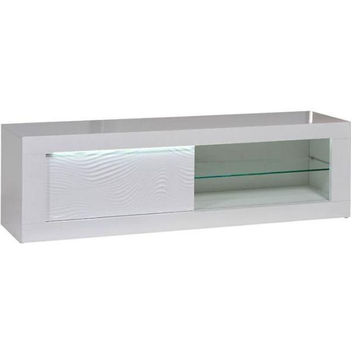 Meuble TV 1 porte coulissante Laqué Blanc à LEDs - MARKS - L 170 x l 45 x H 50