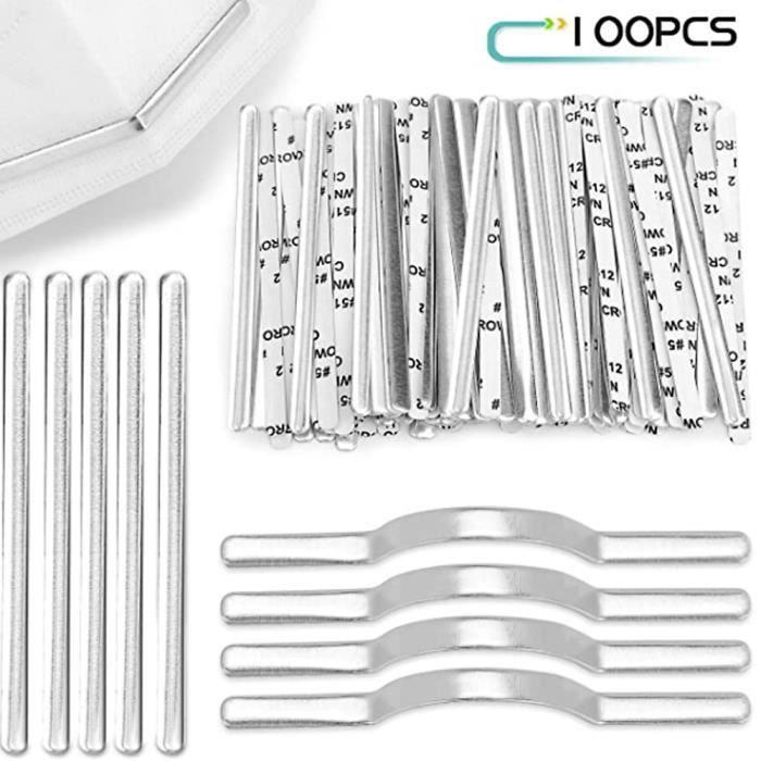 100pcs clips de pont de nez pour masque, en aluminium, pour DIY Faits Main