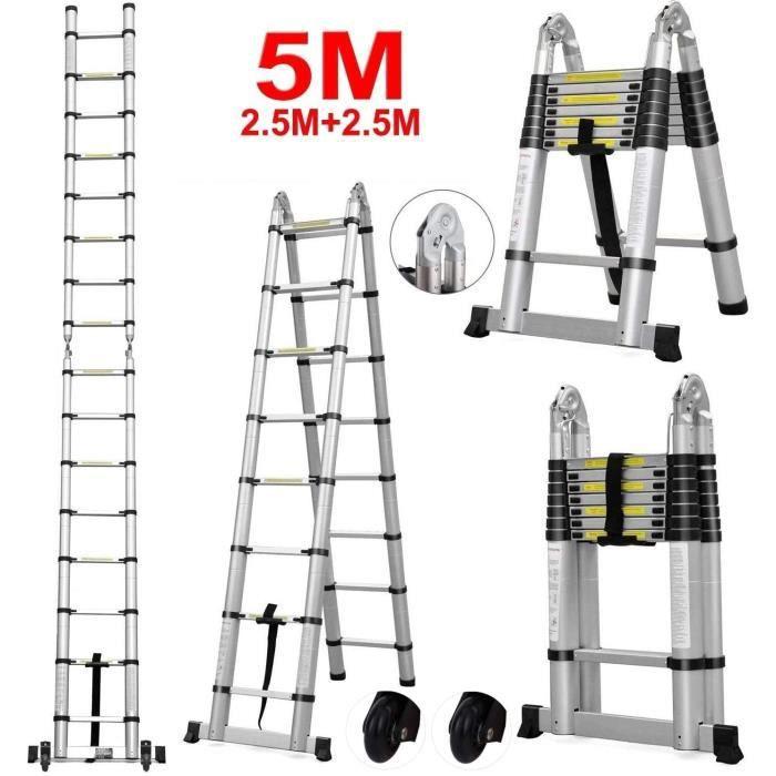 Echelle Telescopique Escabeau Multifonction en Aluminium EN131 Charge Max 150KG 3.2m