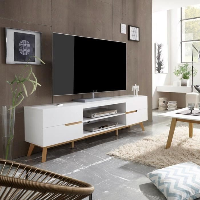meuble tv blanc avec pieds bois vintage 169x46cm achat. Black Bedroom Furniture Sets. Home Design Ideas