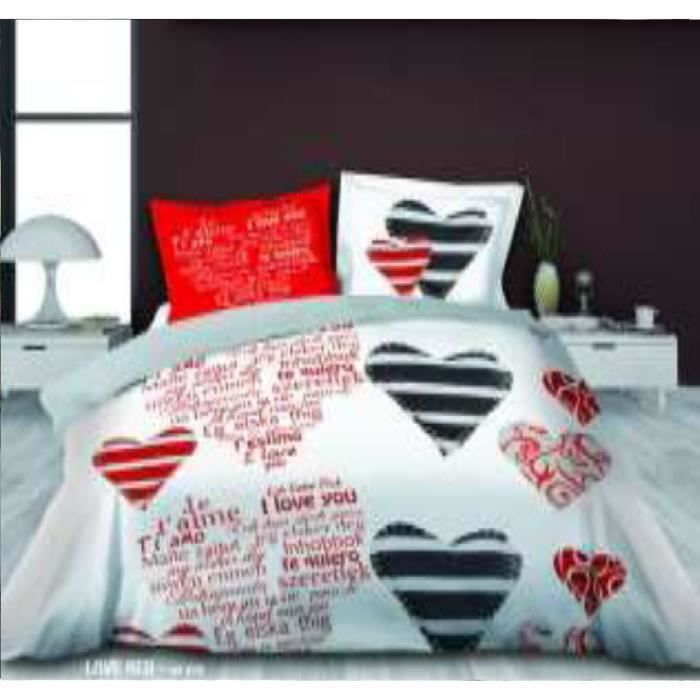 housse de couette 220 x 240cm 2 taies coeur achat. Black Bedroom Furniture Sets. Home Design Ideas