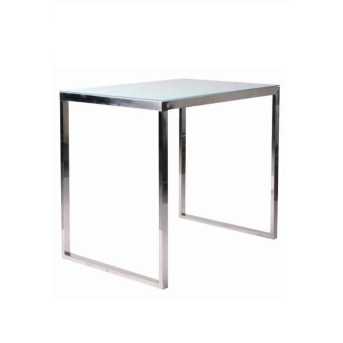 Table de bar rectangulaire design verre et inox achat vente mange debout - Table de bar en verre ...