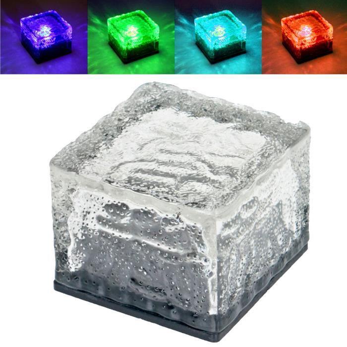 4 x lampe solaire LED RVB luminaire extérieur verre bloc ...