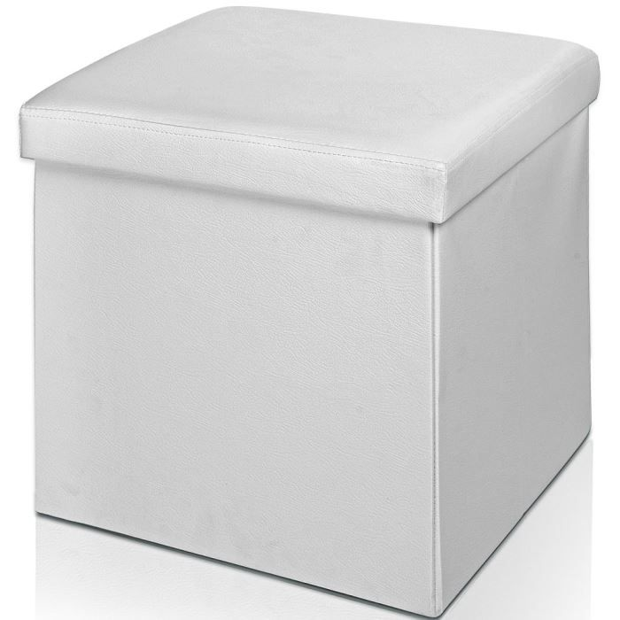 tabouret cube de rangement pouf pliable blanc achat. Black Bedroom Furniture Sets. Home Design Ideas