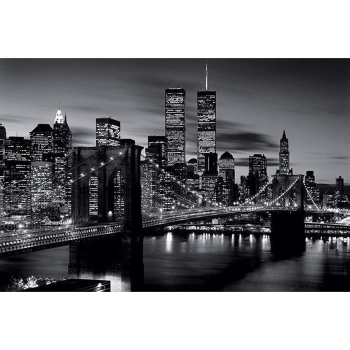 poster noir blanc pont brooklyn new york 61x91cm achat. Black Bedroom Furniture Sets. Home Design Ideas
