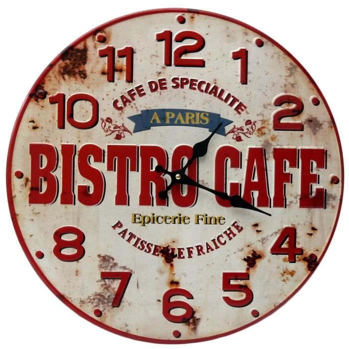 pendule horloge murale bistro caf a paris en m tal rouge style publicitaire d coration d co. Black Bedroom Furniture Sets. Home Design Ideas