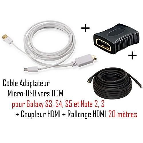 cabling cable adaptateur micro usb vers hdmi m prix. Black Bedroom Furniture Sets. Home Design Ideas