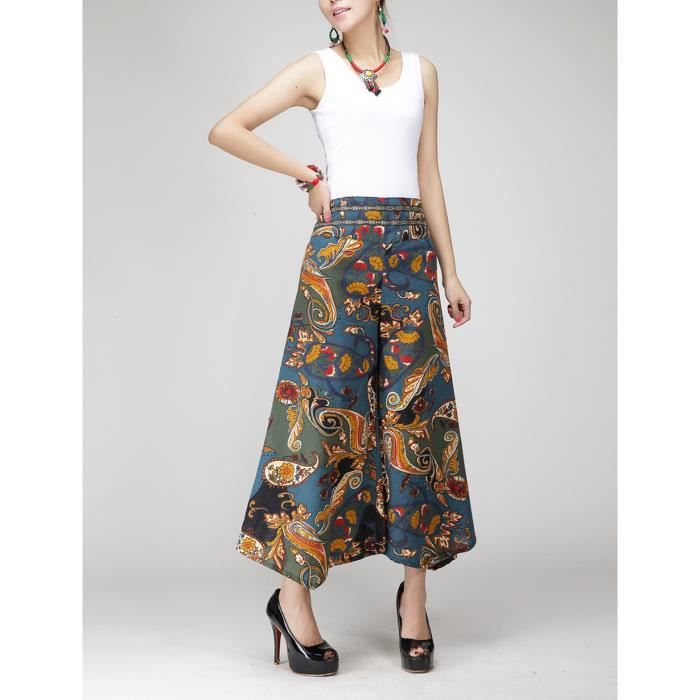 PANTALON Pantalon large jambes femme Bleu OL vintage lin fl