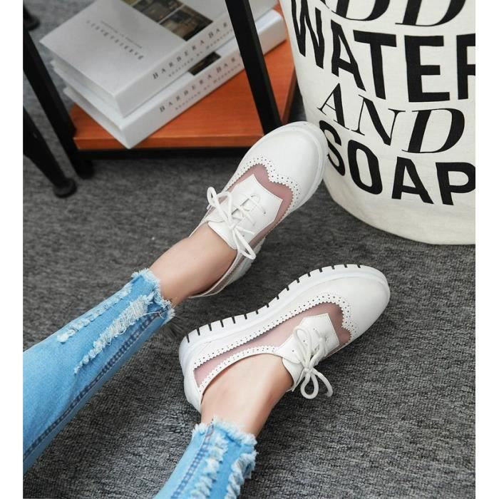 baskets-Pure Color Low Heel Women Inside Heighten Net Lacet Sneakers