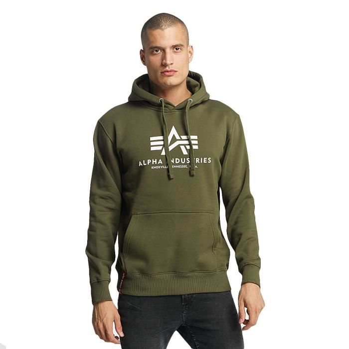 Alpha Industries Homme Hauts Sweat à capuche Basic Vert