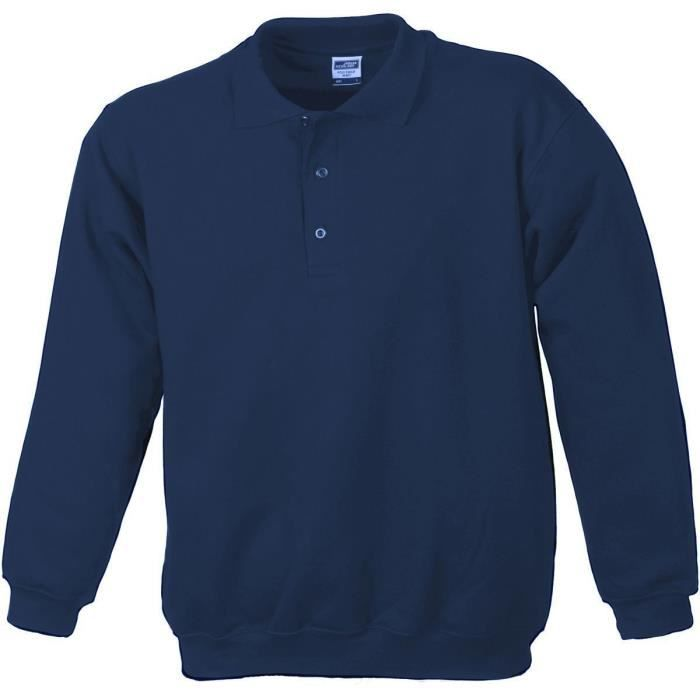 Sweat-shirt col polo - homme - JN041 - bleu