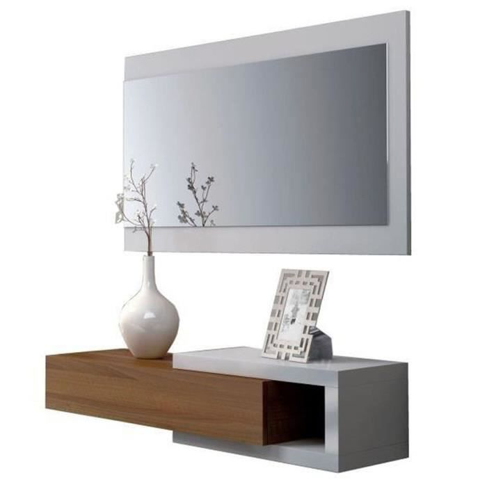 meuble d 39 entr e avec miroir coloris blanc brillant noyer dim l19 x p95 x h26 cm achat. Black Bedroom Furniture Sets. Home Design Ideas