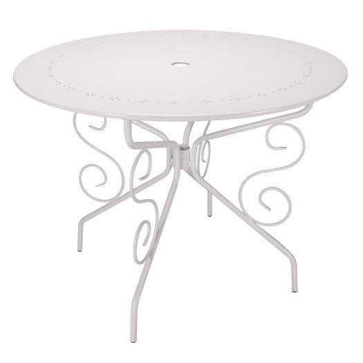TABLE DE JARDIN RONDE D95CM ROMANTIQUE BLANCHE 4 PLACES ...