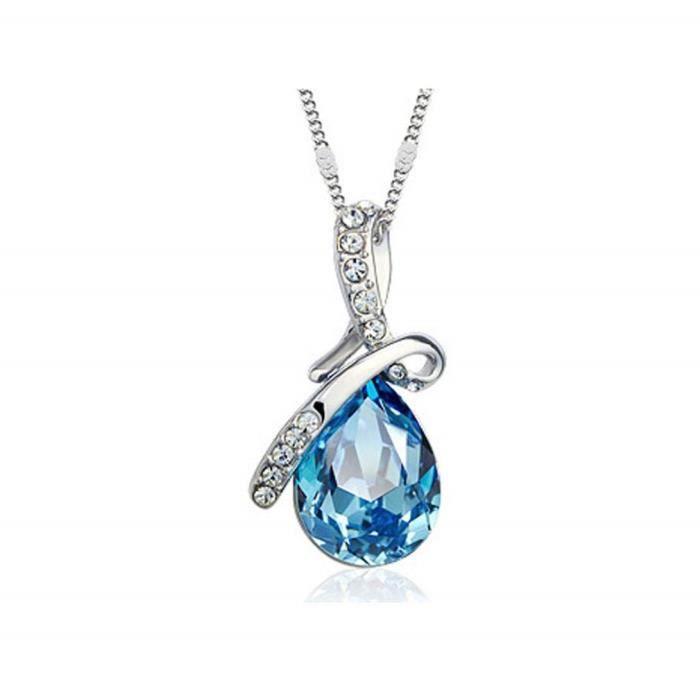 SAUTOIR ET COLLIER Ange Teardrop Pendant Collier Aigue-Marine Crystal