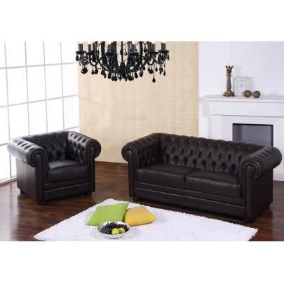 Canap s 3 1 cuir chesterfield chocolat achat vente canap sofa diva - Fleur corrigee pigmentee ...