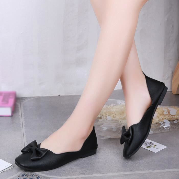 Plat Talon En Shoes Pointu Tissu Casual Extensible love285 Slip Femme Bout Chaussures Noir Beguinstore On qEU080